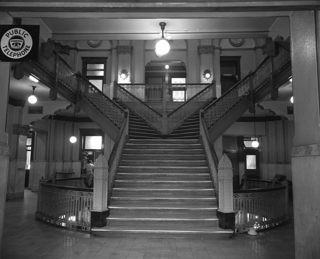 By Norma Pace Interior pictures of the Fayette County Courthouse, which is slated for an extensive remodeling job, accompanies a flash-back story to 1900, when the present structure was opened. Y-shaped stairwell. Published in the Lexington Herald-Leader August 28, 1960. Herald-Leader Archive Photo
